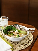 Miso soup with noodles, bok choy, tofu and broccoli