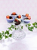 Black and white chocolate muffins with strawberries