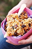 Homemade granola bars in a Tupperware container