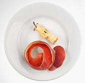 An apple core and apple peel on a plate