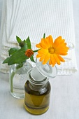 A marigold and oil in glass bottles