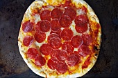 Whole Pepperoni Pizza; From Above