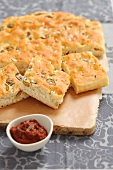 Focaccia with olives and dried tomato pesto