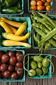 Fresh Vegetables in Green Cardboard Containers; From Above; Jalapenos, Cherry Tomatoes, Italian Broad Beans, Jamaican Burr Gherkins, Mini Summer Squash