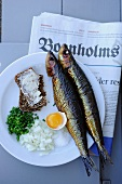 Smoked herring with egg, onions, chives and wholemeal bread (Denmark)