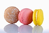 Three different coloured macaroons