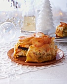 Pastilla with monk fish and prawns (Christmas)