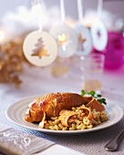 Stuffed chicken with goose liver and pasta (Christmas)