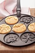 Pancakes in a pancake pan