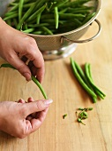 Green beans being prepared