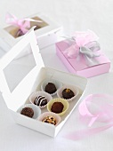 Various chocolate pralines as a gift