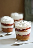 Individual Berry Trifles in Glasses; Spoons