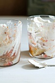 Two Glasses of Mostly Eaten Berry Trifle