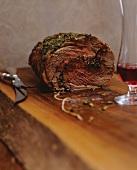Leg of Lamb with a Gremolata Crust; Carving Set
