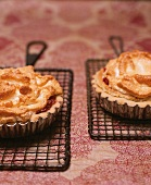 Two Rhubarb Meringue Tarts on Individual Cooling Racks