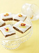Lemon and date slices on cake stand