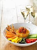 Vegetables crudités with an orange and sweet potato dip