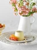 Panna cotta with peach salad