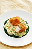 Baked catfish on parsley creme with vegetable mayonnaise
