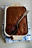 Chocolate cake in a baking mould