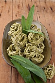 Ramson pasta nests of a plate