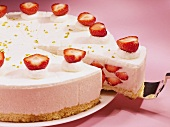 Strawberry cream cake, sliced