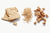 Soy steaks, soy granulate and diced soy