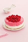 A double-layer raspberry cheesecake