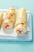 Pancake rolls with vanilla quark and strawberries
