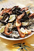 A seafood platter with lemons