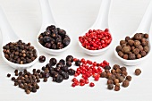 Allspice berries, pink pepper, juniper berries and black peppercorns on spoons