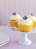Cupcakes topped with lemon cream and violets