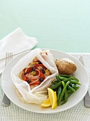 Fish fillet with vegetables in baking paper (for diabetics)