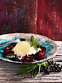 Elderberry and pear jelly with a scoop of vanilla ice cream