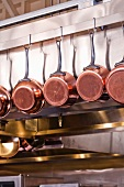 Copper Pots Hanging in a Kitchen
