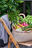 Large Basket of Fresh Garden Veggies