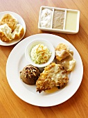 Fried Chicken with Slaw, Brown Sugar Sweet Potatoes and a Biscuit and Gravy;Gravy Sampler