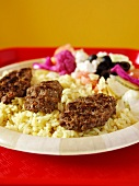 Kafta Over Rice with Vegetables