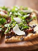 Rectangular Arugula Pizza; Close Up