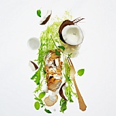 Frisee lettuce salad with pork and coconut sauce