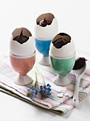 Chocolate cream in egg shells