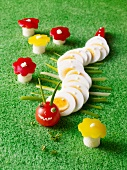 A caterpillar made of sliced egg