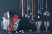 Kitchen utensils, glasses and Christmas decorations