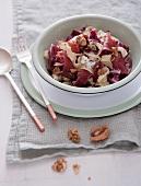 Tagliatelle with radicchio, walnuts and coppa ham