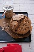 Spelt bread on a baking tray