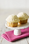 Two coconut cupcakes on a cake stand