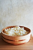 Japanese Hangiri Wooden Rice Tub with Sushi Rice