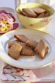 Diamond-shaped almond biscuits
