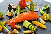 Marinated salmon trout with vegetable salad