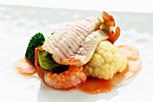 Sole sou vide with crayfish and cauliflower